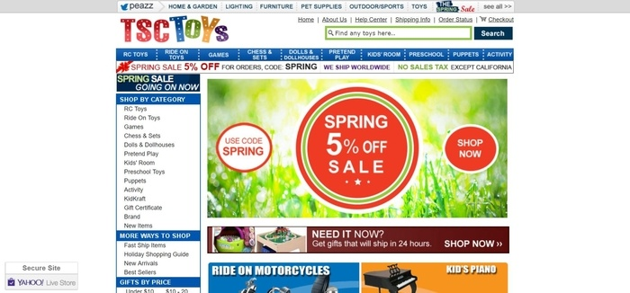 screenshot of the affiliate sign up page for TSCToys