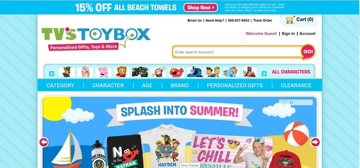 screenshot of the affiliate sign up page for TV's Toy Box