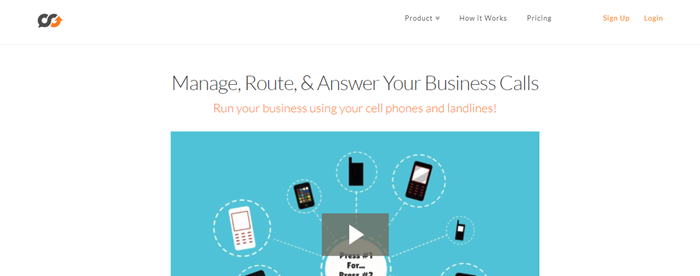 TalkRoute website screenshot showing a still from a video with an aqua background and various cellphones.