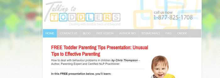 Talking to Toddlers website screenshot showing a blurry background image that looks like outside. Text talks about the free presentation and what the company offers.