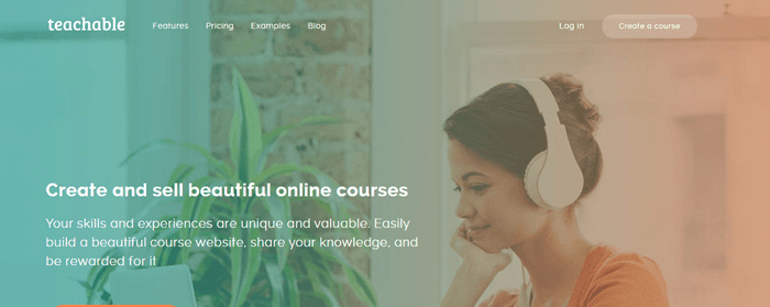 Teachable website screenshot showing a young brown-haired woman sitting on her laptop wearing white headphones and looking at a laptop.