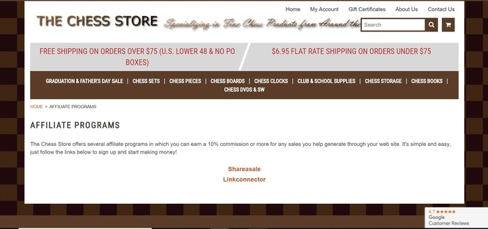 screenshot of the affiliate sign up page for The Chess Store