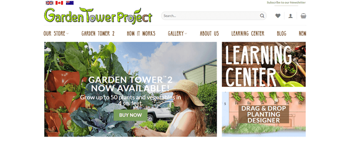 The Garden Tower Project website screenshot showing images of being outside and in the garden.