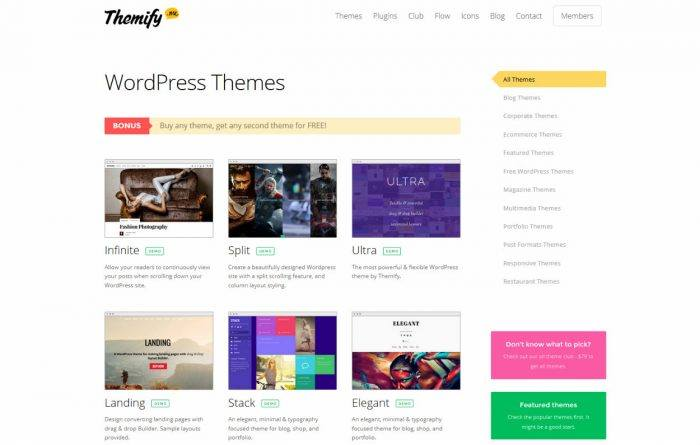 The Themify WordPress themes. The themes are listed in a grid with a title, description, and thumbnail for each theme. On the right is a navigation menu displaying all the theme categories.