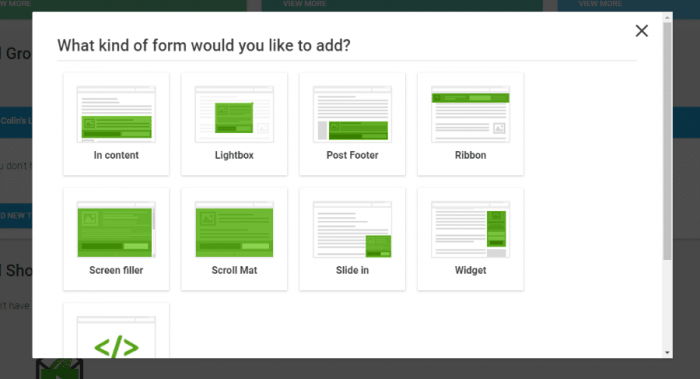 The Thrive Leads form options displayed in a grid. There are in-content, lightbox, post footer, ribbon, screen filter, scroll mat, slide-in, and widget forms.