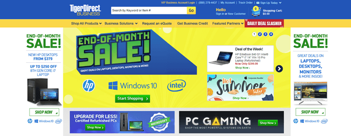 Tiger Direct website screenshot showing various images of products and banners for sales and upgrades.