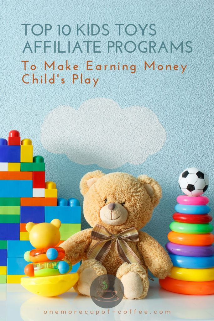 teddy bear and other kid's toys lined up against a sky-painted wall, wit text at the top