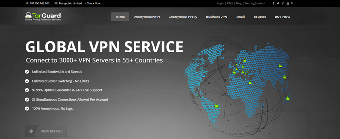 TorGuard Website Screenshot showing a stylized image of the world and network connections.
