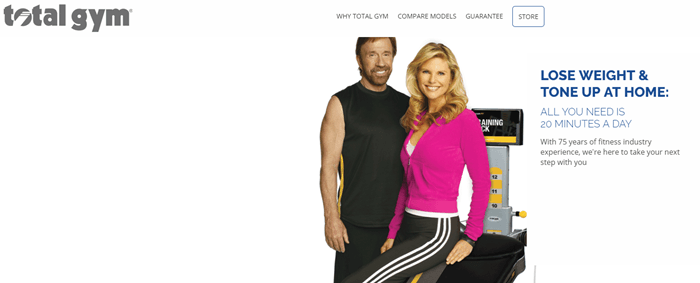 Total Gym website screenshot showing Chuck Norris and a woman posing in front of the Total Gym system.