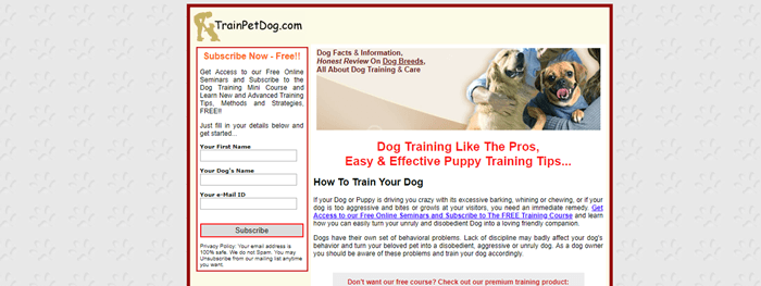 TrainPetDog.com website screenshot showing an image of a woman with two dogs and various details about the site.