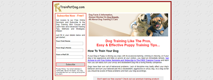 TrainPetDog.com website screenshot showing an image of a dog owner with two dogs.