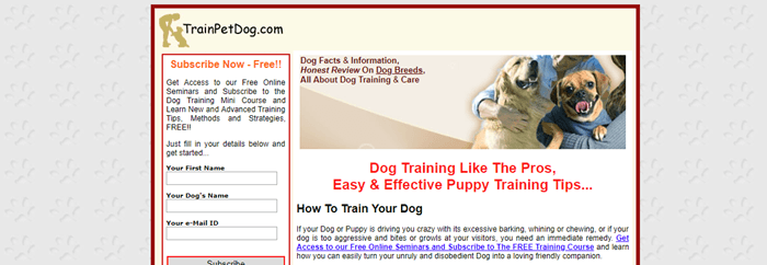 TrainPetDog.com website screenshot showing an old-school website with a subscription link and an image of two women with dogs.