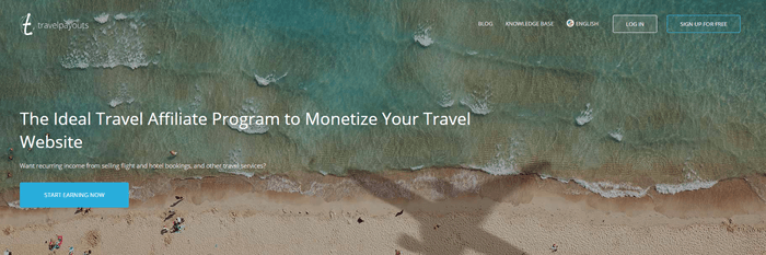 Travel Payouts website screenshot showing a top down image of a beach and ocean with a plane flying over it.
