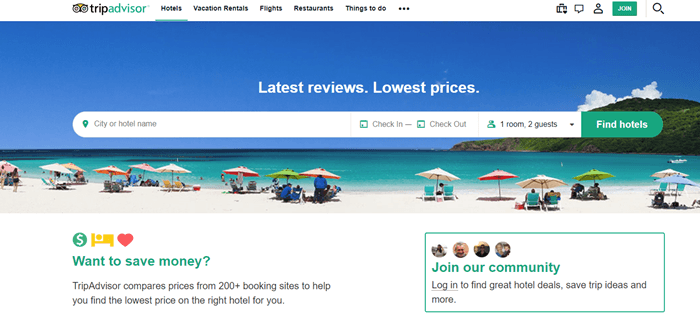 TripAdvisor website screenshot showing a background image of a beach on a sunny day with people sitting under umbrellas.