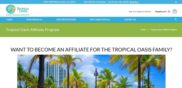 screenshot of the affiliate sign up page for Tropical Oasis