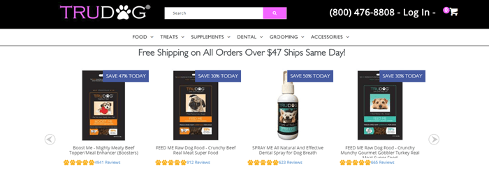 TruDog website screenshot showing four different products from the company with their ratings and titles.