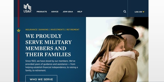 screenshot of the affiliate sign up page for USAA