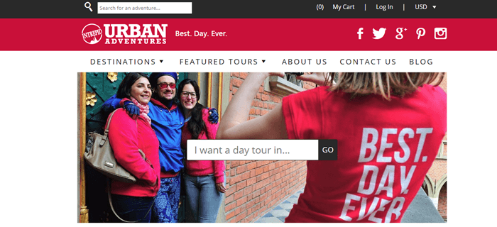 Urban Adventures website screenshot showing a man and two women posing for a photograph while a third woman takes it.