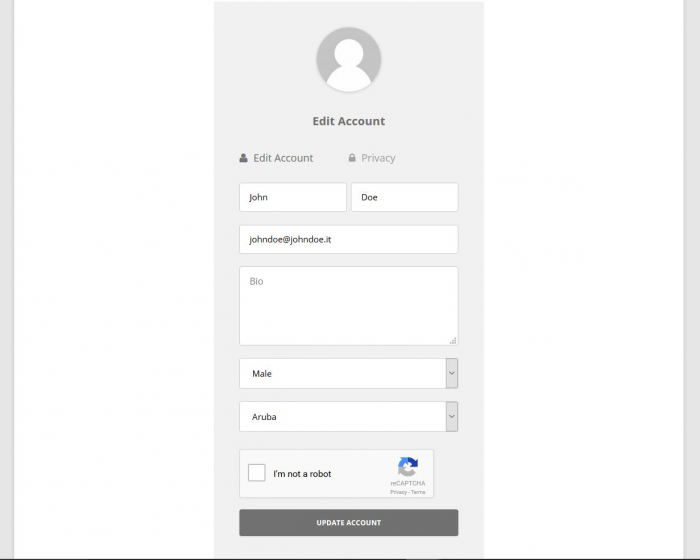 "The edit account page. There are fields for the first and last names, email address, bio, gender, and country. Before the ""update account"" button there is a reCAPTCHA human verification box."