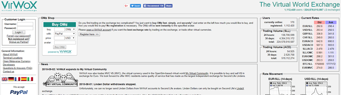 VirWox website screenshot showing text about exchange rates and details about what VirWox offers.