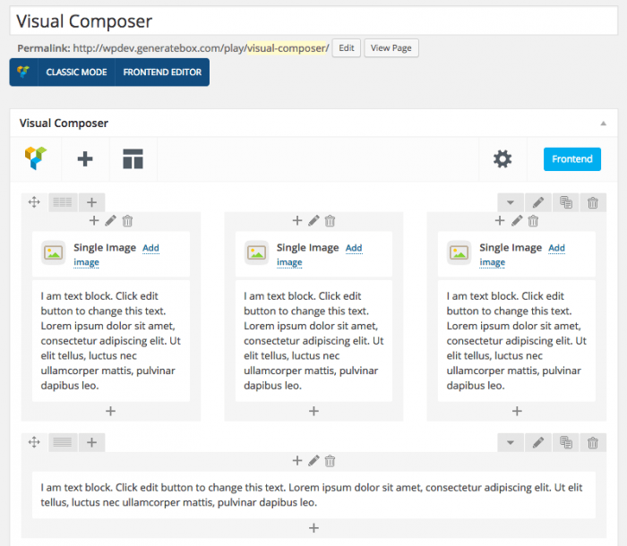 The Visual Composer interface inside the WordPress admin dashboard. Below the title, the plugin's interface displays a template with three single images next to each other, each containing text, and at the bottom is the text editor.