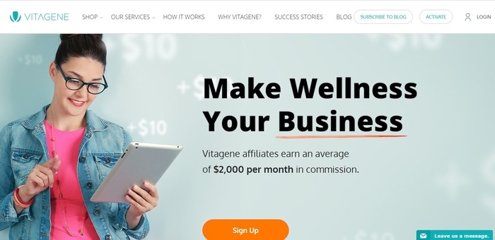 screenshot of the affiliate sign up page for Vitagene