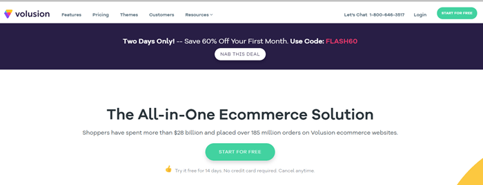 Volusion website screenshot talking about an all-in-one eCommerce solution with a link to getting started.