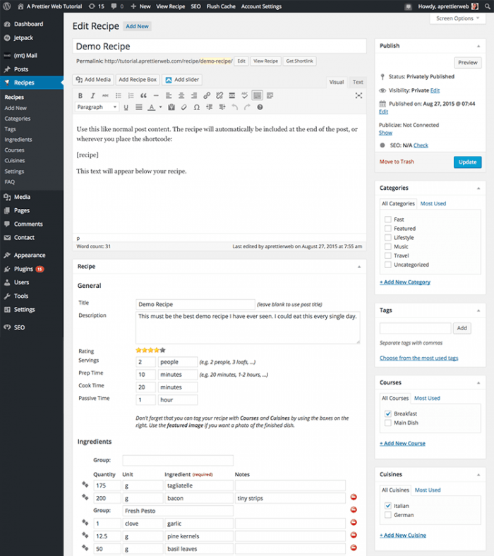 The recipe editor inside the WordPress dashboard. The editor is structured like the WordPress text editor, with a title field followed by the body where the recipe shortcode is added. At the bottom is a preview of the recipe showing the rating, servings, cook time, and other information.
