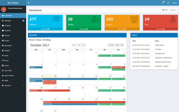 The WPSchoolPress dashboard showing the school's stats at the top, the activities timetable in the middle, and the exams listed on the right. On the left is the dashboard menu.