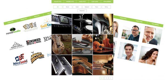Three sample pages, one showing a grid display of logos, another showing images of musical instruments, and the third showing portrait images.