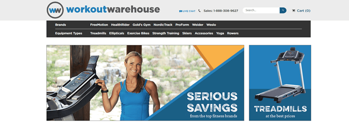 Workout Warehouse website screenshot showing a young woman in a blue shirt standing next to a treadmill and an isolated image of the same treadmill.