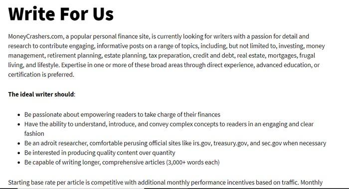 Write For Money Crashers