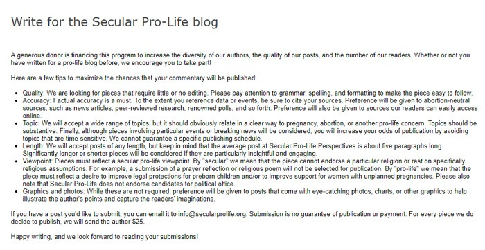 Write For The Secular Pro Life Blog