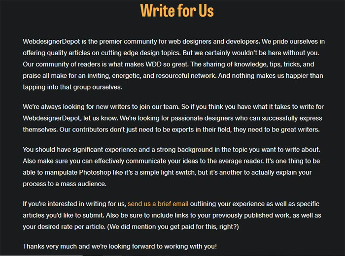Write For Us Web Designer Depot