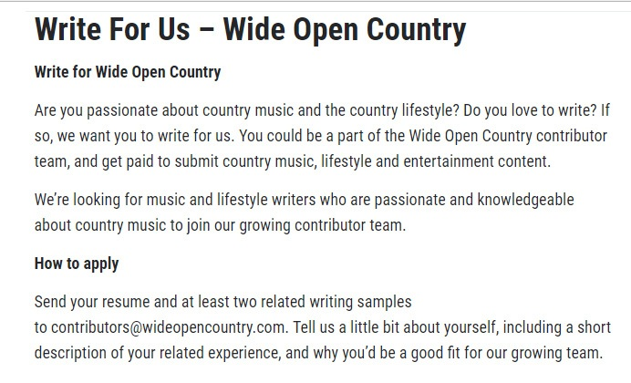 Write For Wide Open Country