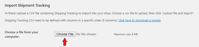 "The ""Import Shipment Tracking"" page. At the top is a welcome message, and below it is a ""Choose File"" button."