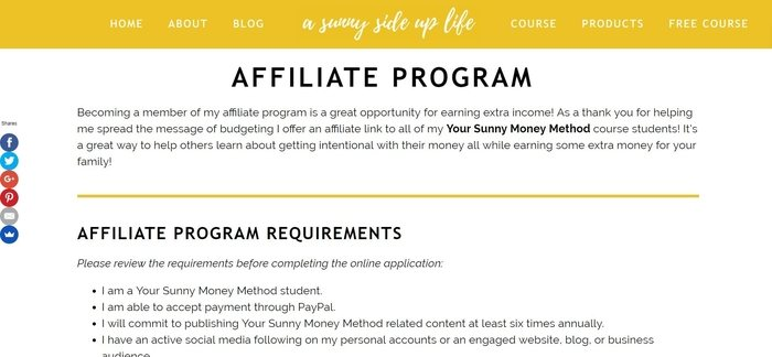 screenshot of the affiliate sign up page for Your Sunny Money Method
