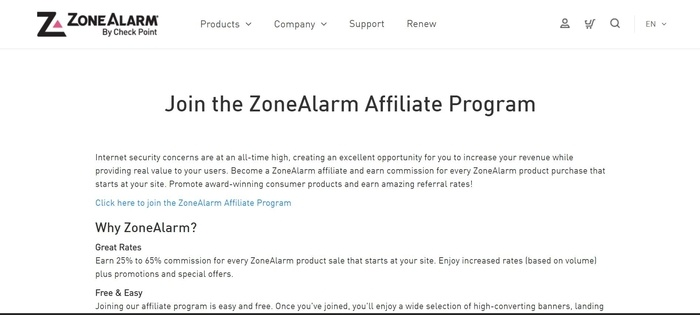 screenshot of the affiliate sign up page for Zone Alarm