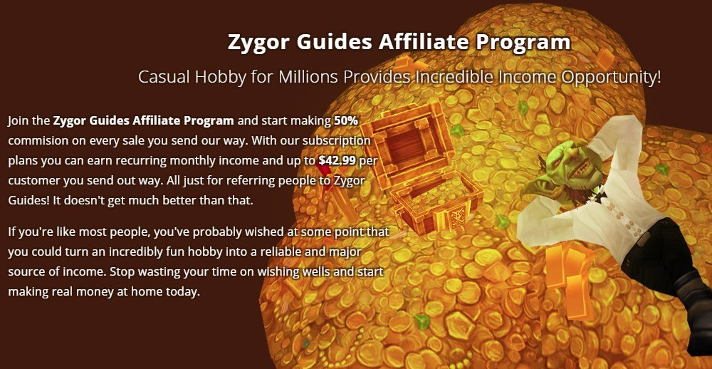 Zygor Guides affiliate program sign up page