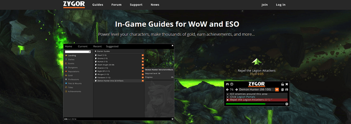 Zygor Guides website screenshot showing a background image from WoW that has plenty of green fire.
