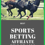 """jockeys and horses running on a track with the phrase """"best sports betting affiliate programs"""""""