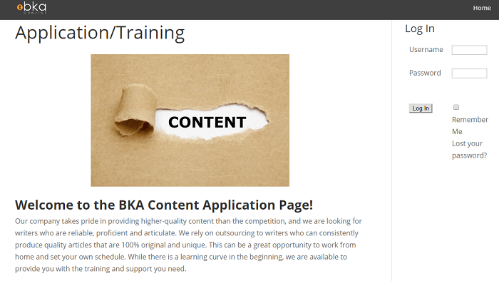 This is a screenshot of the first page of BKA Content's training kit for new writers. Included are strict guidelines writers must abide when submitting their test articles