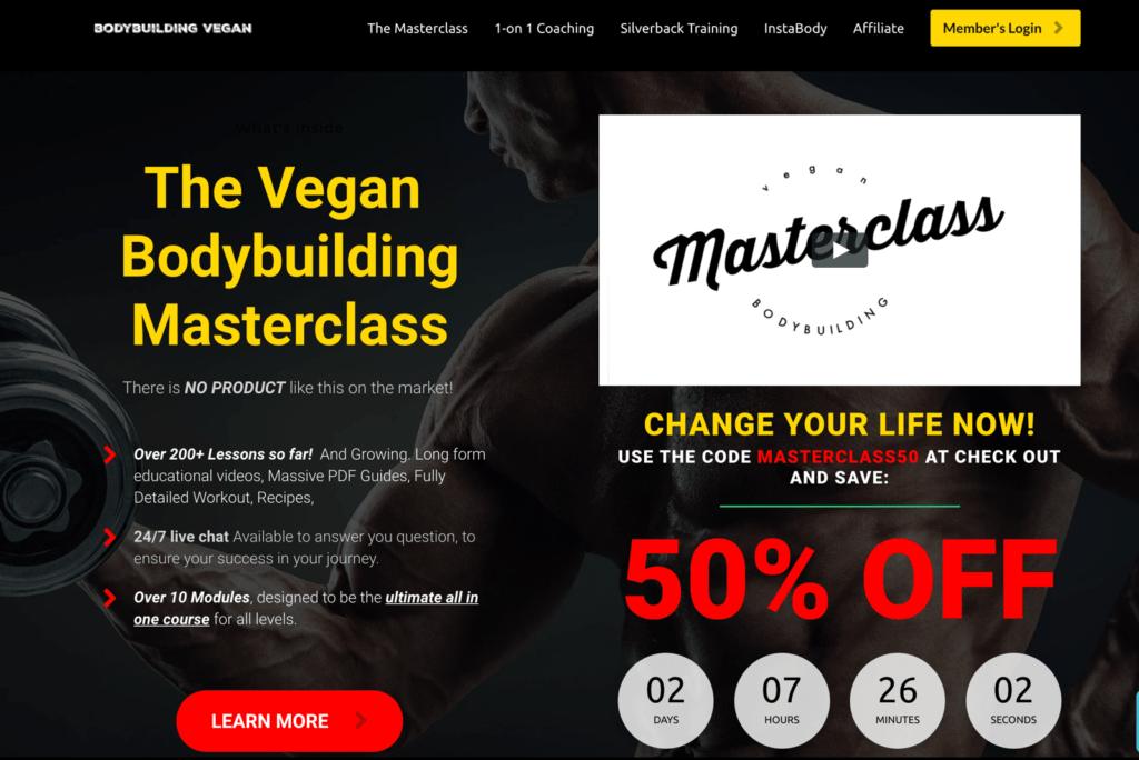 bodybuilding vegan landing page