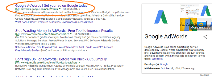 This is a screenshot of Google results page. The orange circle is placed over an example of a pay-per-click ad.