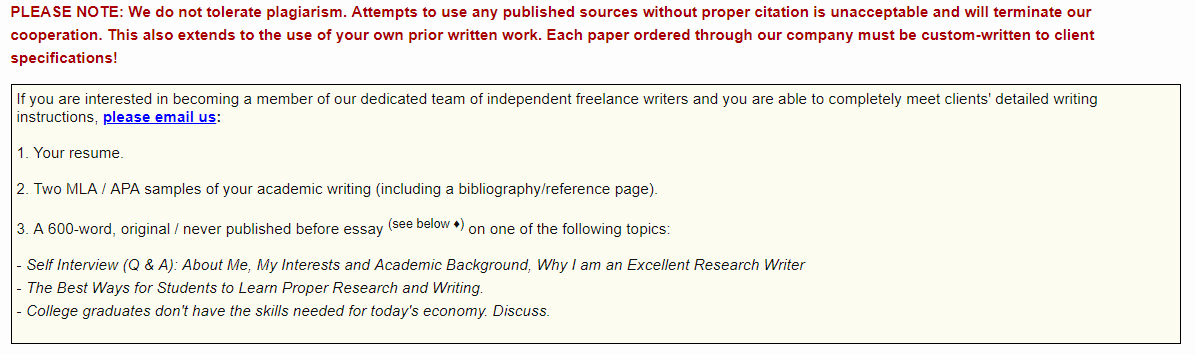 This is a screenshot of the requirements for freelance writers CustomPaper.com. The site offers paying work for those interested in academic writing.