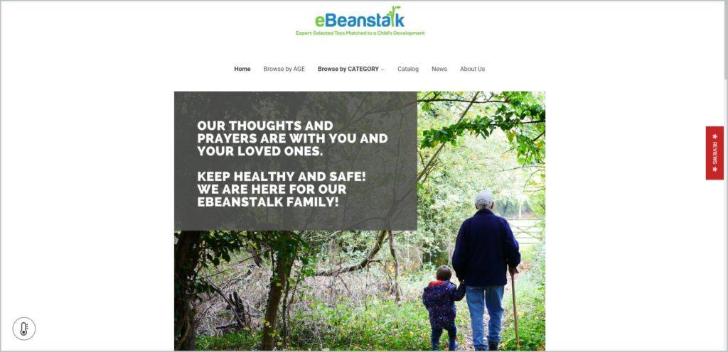 screenshot of eBeanstalk web page