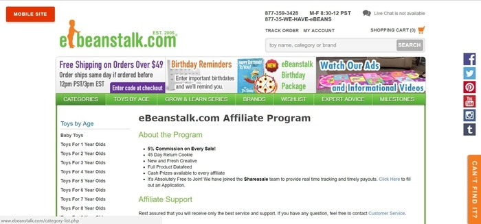 screenshot of the affiliate sign up page for eBeanstalk