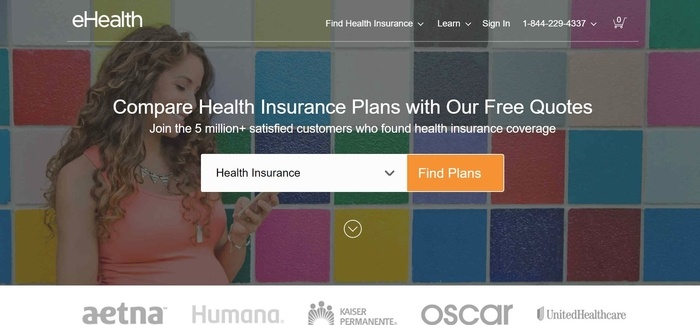 screenshot of the affiliate sign up page for eHealthInsurance
