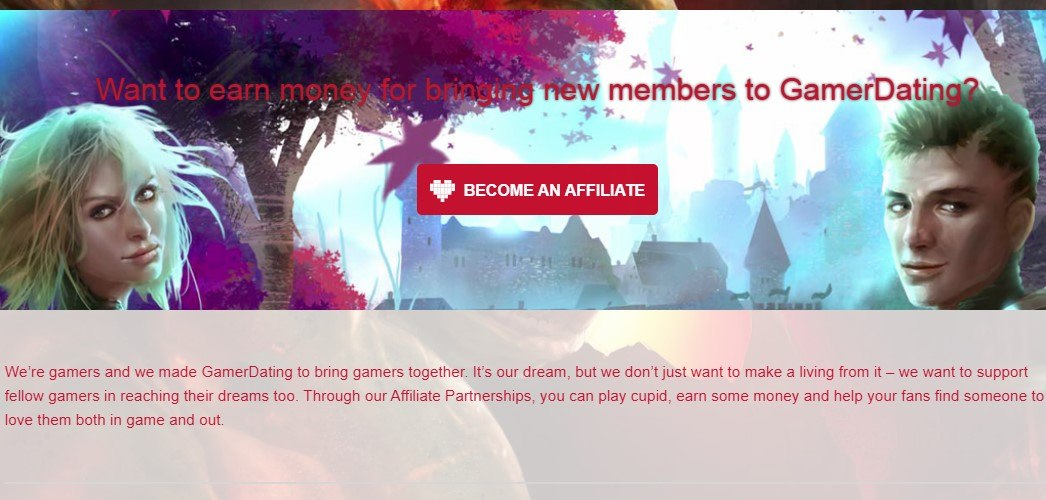 gamer dating affiliate page sign up