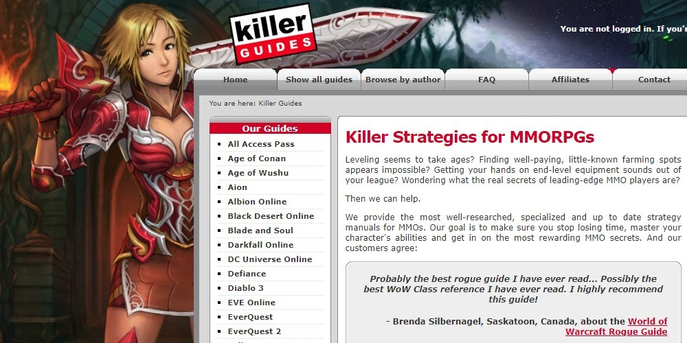killer guides home page